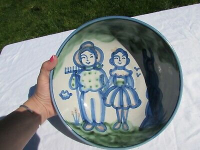 """M A HADLEY COUNTRY FARMER AND WIFE LARGE 11"""" PASTA SERVING BOWL STONEWARE Great"""