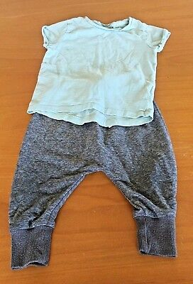Girls Next Grey Jogging Bottoms & Turquoise Top Outfit Set Age 9-12 Months B43