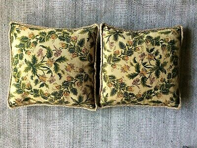 Vintage French Wool Needlepoint Embroidered Cushion Cover Pair