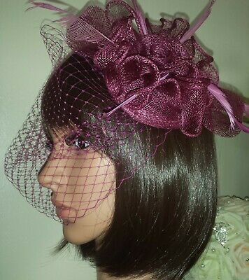 """Raspberry birdcage bandeau wedding veil 9"""" with feather sinamay clip Fascinator"""
