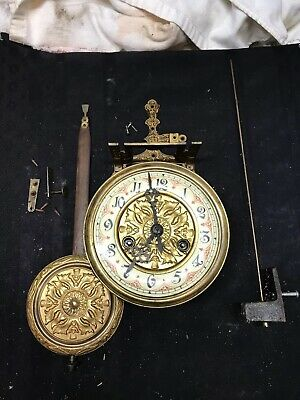 Antique Gustav Becker Silesia Thistle Vienna Reg. Clock Movement W/ Pendulum