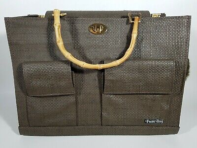 Designer Puchi Bag Small Dog Carrier Bag Purse Brown Gray /w Bamboo Handles 15""