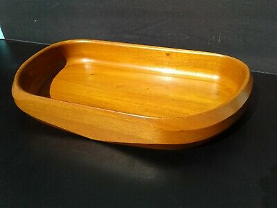 Vintage Danish Modern Solid Mahogany Association Inc 484 Wood Salad Fruit Bowl