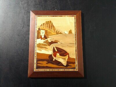 Vintage Sorrento Italy Marquetry Inlaid Wood Seascape Sea Scene Wall Art Plaque