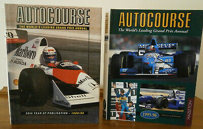 2 AUTOCOURSE ANNUAL for 1989/90 & 1995/96 pub by HAZLETON , hardbacks with d/ws