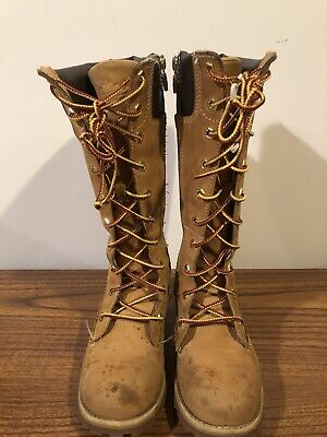 24c18b97 Timberland Girls Youth US 1 Asphalt Trail Wheat Nubuck Lace Up Knee High  Boots