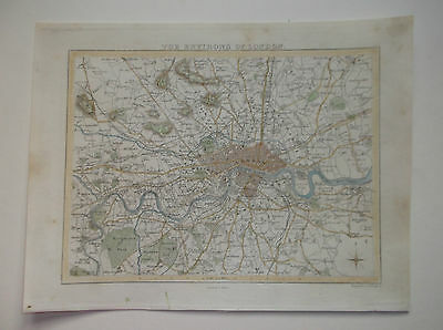"""ENVIRONS OF LONDON MAP-BY HUGHES DATED 1848  10x8"""""""