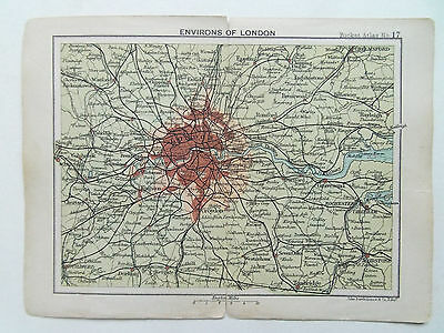 LONDON ENVIRONS MAP ANTIQUE BARTHOLOMEWS SMALL MAP DATED 1895  12cm x 16cm