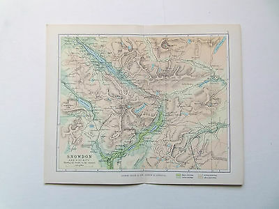 SNOWDON WALES ANTIQUE MAP ANTIQUE PHILIPS  DATED 1890  APPROX 7inx 9in VGC