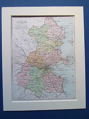 """Dublin Ireland Old Bartholomews Map Dated 1890 In 10""""X8"""" Mount Ready To Frame"""