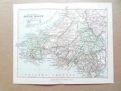 SOUTH WALES MAP WITH RAILWAYS-PHILIPS-ANTIQUE DATE 1890 - 7inx 9in