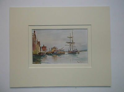 ISLE OF WIGHT YARMOUTH OLD PRINT  1908 - 10inx8in DOUBLE MOUNT READY TO FRAME