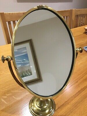 Vintage Victorian Style Brass Pedestal Base Shaving/Make Up Mirror. REDUCED