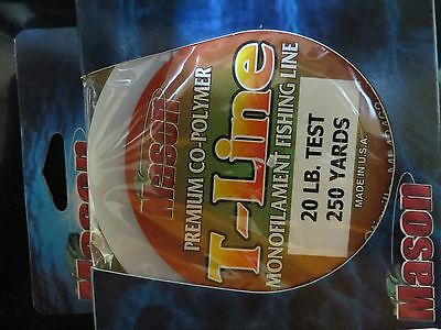 250 Yds Mason T-Line 10# Monofilament Fishing Line Brown Co-Polymer #TWB-10