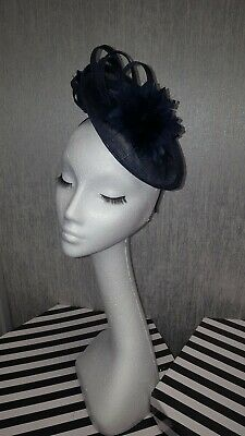 Navy blue Fascinator Hatinator for wedding the races specail occasions