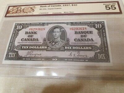 1937 Bank Of Canada $ 10  BCS  Coyne / Towers  CERTIFIED AU 55