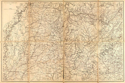 Map of Northern Mississippi and Alabama c1865 repro 36x24