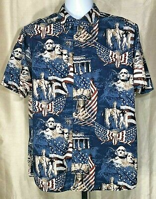 f62e54420 ClearWater Outfitters Patriotic Camp Shirt Men's Large American Flags  Rushmore