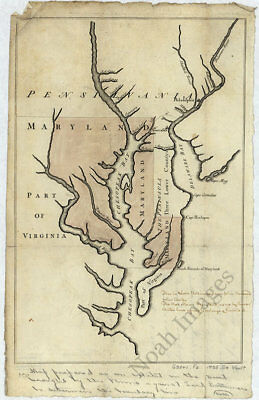 Maps of the Maryland Pennsylvania boundary Lower Counties c1738 repro 12x18
