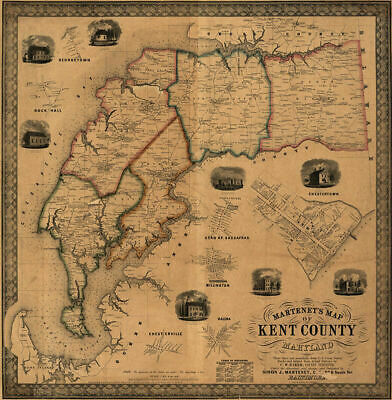 Map of Kent County Maryland c1860 repro 24x24
