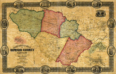 Map of Howard County Maryland c1860 repro Perspective Map repro 24x36