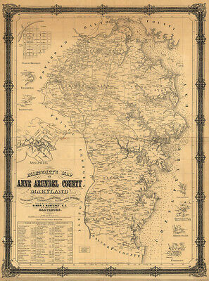 Map of Anne Arundel County Maryland c1860  repro 24x32