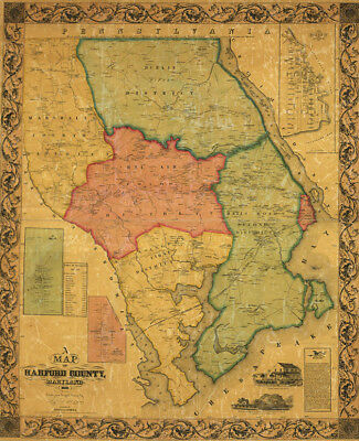 Map of Harford County Maryland c1858 repro 24x30