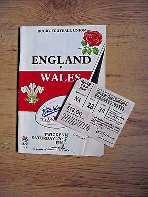 Rugby International Programme and Ticket England v Wales 17 Feb 1990