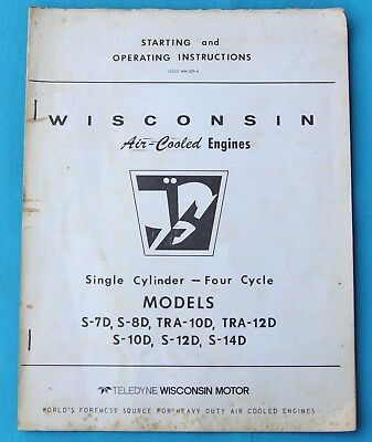 WISCONSIN MODELS S10D, S12D, S14D Engines Instruction Book And Parts