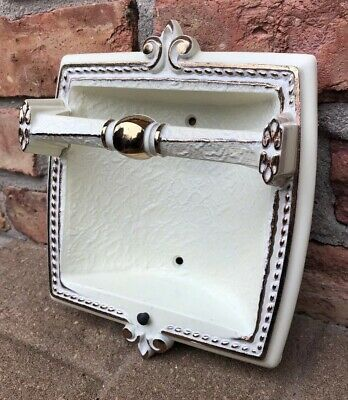 Vintage Hollywood Regency Brass White Recessed Wall Grab Bar Soap Dish