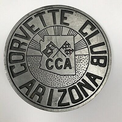 Colonial Pewter Corvette Club Arizona Round Etched Belt Buckle