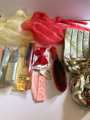 Mixed Lot Vintage Hair Accessories Brushes Combs Hair Nets and Setting Scarf
