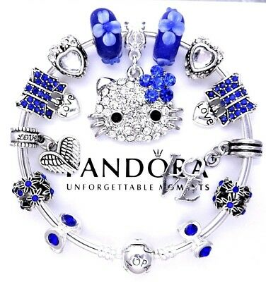 Authentic Pandora Bracelet Silver with BLUE HELLO KITTY ANGEL European Charms