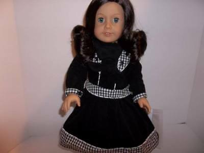 """Black, White Corduroy Dress made for 18"""" American Girl Doll Clothes"""