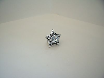 New Stretch Ring - Antique Effect Silver Tone Alloy Star Shape with Clear Stone