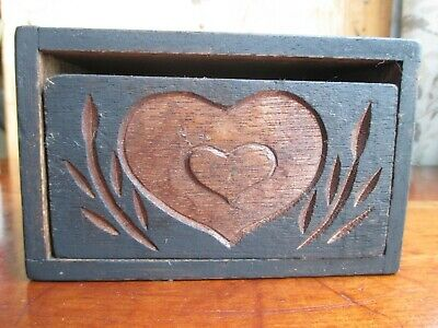 Antique Primitive WOOD ca.1910 BUTTER MOLD PRESS Double Hearts Dovetailed 1 Lb.