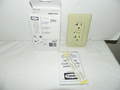 HUBBELL GFCI COMMERCIAL LED GROUND FAULET OUTLET  20A 125 volt ivory