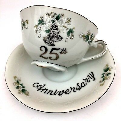 VTG LEFTON 25th Anniversary Silver Hand Painted Doves & Bells Tea Cup & Saucer