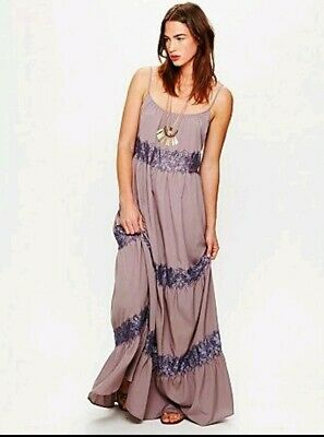 b9a2470f99 Free People Oversized Purple Lace Maxi Dress ~Size Medium But Fit Large  Too~ Nwt
