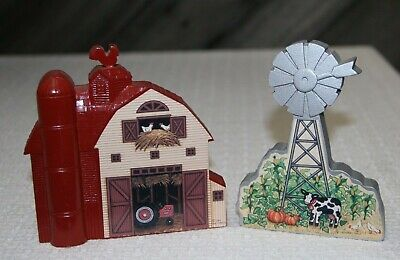 Vtg Miniature House Wall Decor Or Shelf Sitter 2 Pc. Red Barn & Windmill W/ Cow