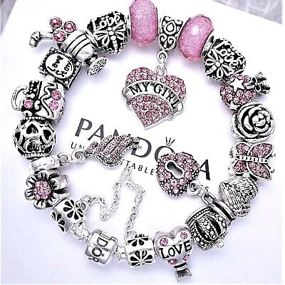 """Authentic Pandora Bracelet Silver with MY GIRL """"LOVE STORY"""" European Charms~"""