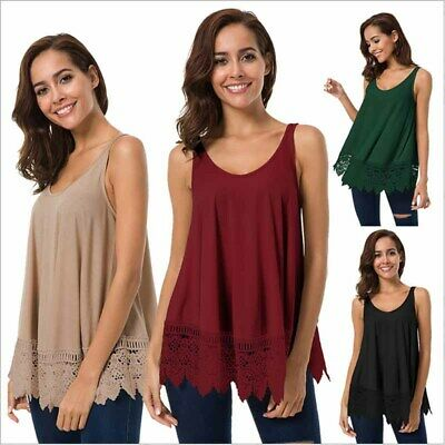 Womens Lace Tee Sleeveless T Shirts Scoop Neck Plain Blouse Tops Loose Summer