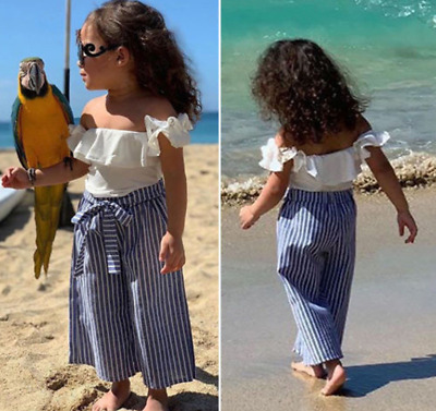2Pcs Toddler Baby Girl Off Shoulder Ruffles Tops Striped Pants Beach Outfits Set