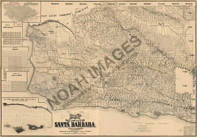 Map of the County of Santa Barbara CA c1889 repro 33.75x24
