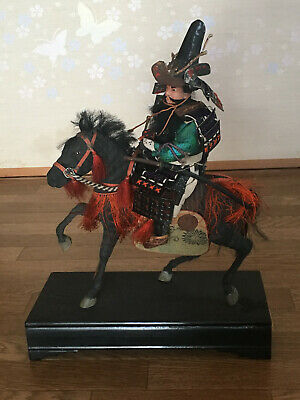 32cm Japanese Antique SAMURAI Armor YOROI Doll MUSHA NINGYO with Horse