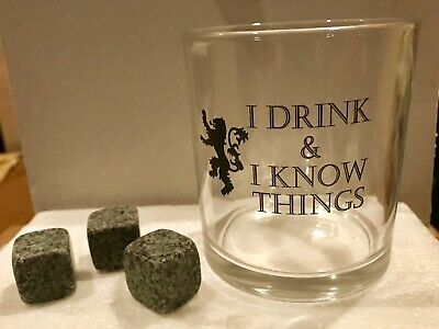 """Rocks Glass Whiskey Rocks Game of Thrones """"I Drink and I Know Things"""" Tyrion GoT"""