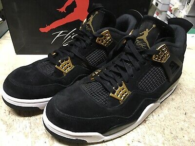 4e0ffca8aef1ee USED MENS NIKE AIR JORDAN IV 4 RETRO BLACK GOLD ROYALTY 308497 032 Sz 10.5  FREE
