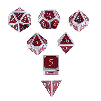 7-Die Set Metal Opaque Multi-sided 16mm Dice for Dungeons D&D TRPG Role Play