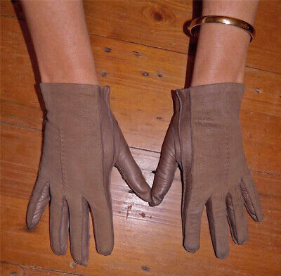 VINTAGE Rockabilly 1950s-60s Original Suede Leather Retro Gloves