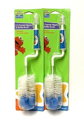 Sesame Street E-Z Swivel Nipple And Baby Bottle Brush Blue 2 Pack NEW